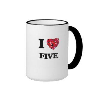 I Love Five Ringer Coffee Mug