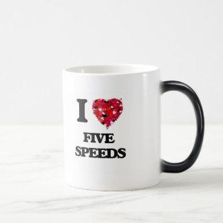 I Love Five Speeds 11 Oz Magic Heat Color-Changing Coffee Mug