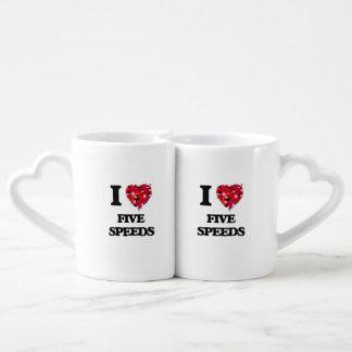 I Love Five Speeds Couples' Coffee Mug Set