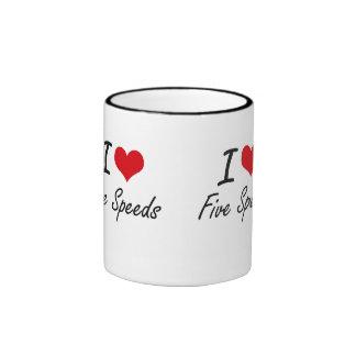 I love Five Speeds Ringer Coffee Mug