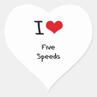 I Love Five Speeds Heart Stickers