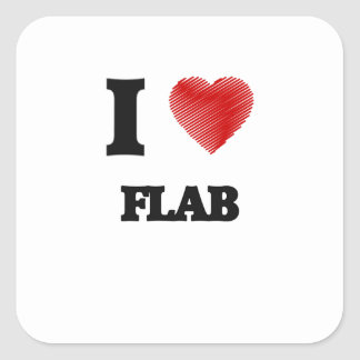 I love Flab Square Sticker