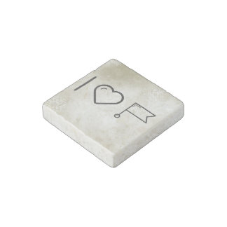I Love Flag Connectors Stone Magnet