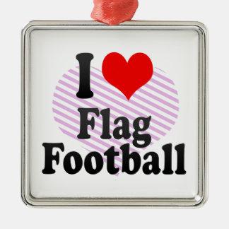 I love Flag Football Christmas Ornament