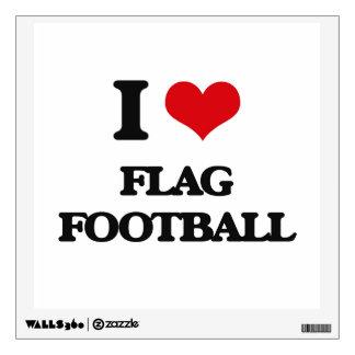 I love Flag Football Room Decal
