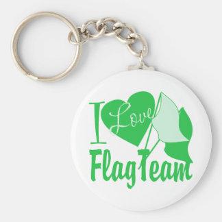I Love Flag Team Green Basic Round Button Keychain