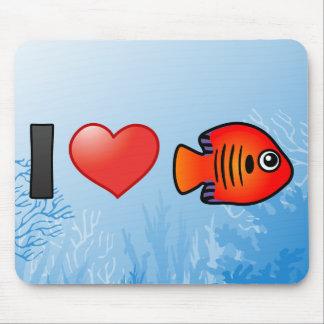 I Love Flame Angelfish Mouse Pad