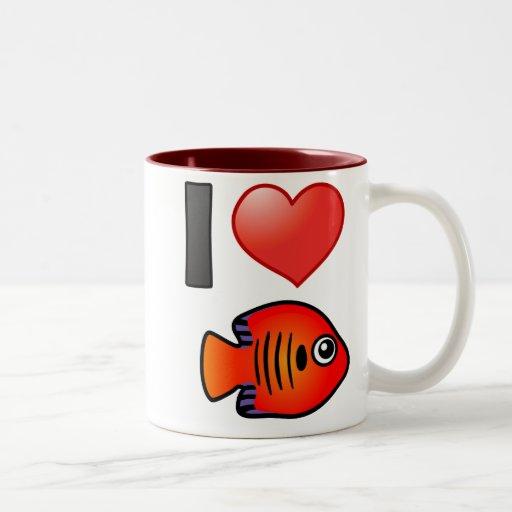 I Love Flame Angelfish Two-Tone Coffee Mug