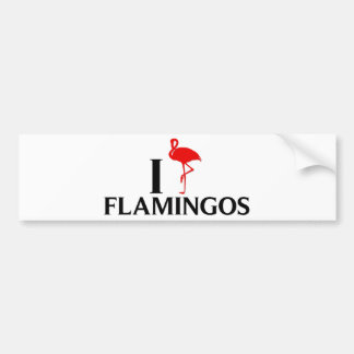 I Love Flamingos Bumper Sticker