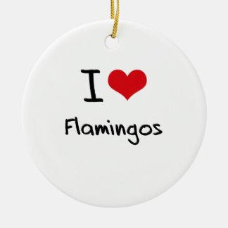 I Love Flamingos Christmas Ornaments