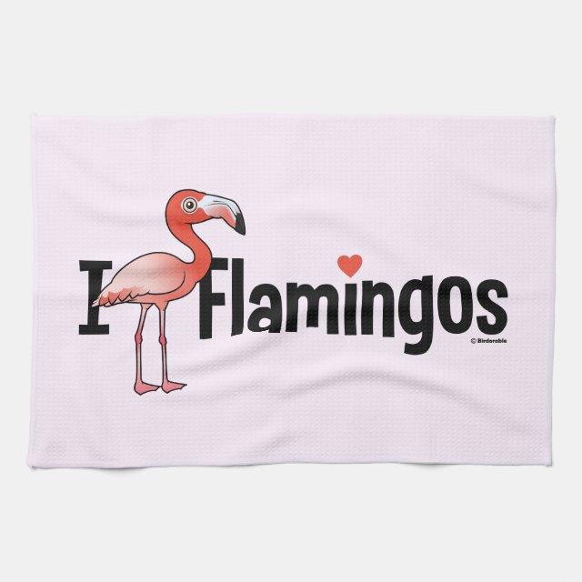 Birdorable Cute I Love Flamingos Kitchen Towel 16 X 24