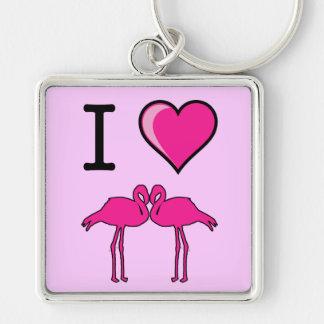I Love Flamingos Keychain
