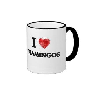 I love Flamingos Ringer Mug