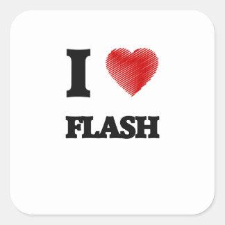 I love Flash Square Sticker