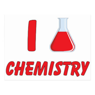 I Love (flask) Chemistry Postcard