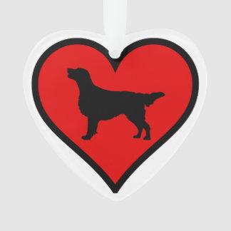 I Love Flat-Coated Retriever Silhouette Heart