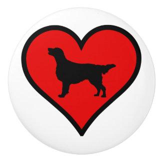 I Love Flat-Coated Retriever Silhouette Heart Ceramic Knob