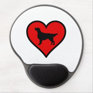 I Love Flat-Coated Retriever Silhouette Heart Gel Mouse Pad