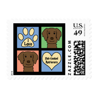 I Love Flat-Coated Retrievers Postage