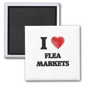 I love Flea Markets 2 Inch Square Magnet