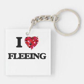 I Love Fleeing Double-Sided Square Acrylic Keychain