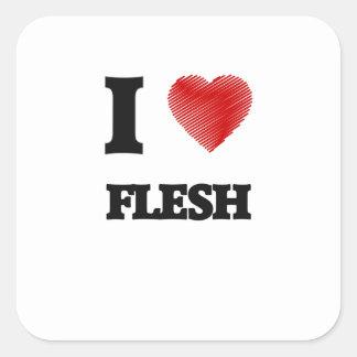 I love Flesh Square Sticker
