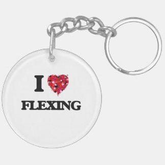 I Love Flexing Double-Sided Round Acrylic Keychain