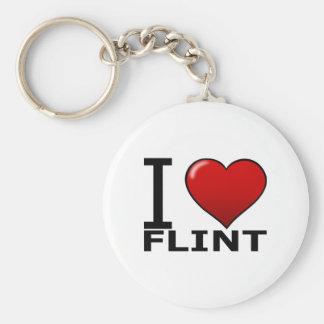 I LOVE FLINT, MI - MICHIGAN KEYCHAIN