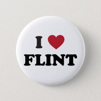 I love Flint Michigan Pinback Button