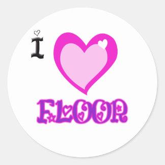 I LOVE Floor Round Sticker