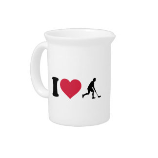 I love Floorball player Drink Pitcher