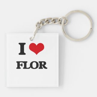 I Love Flor Double-Sided Square Acrylic Keychain