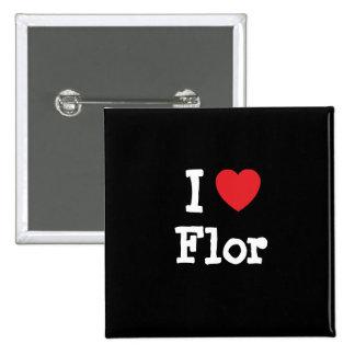 I love Flor heart T-Shirt Button