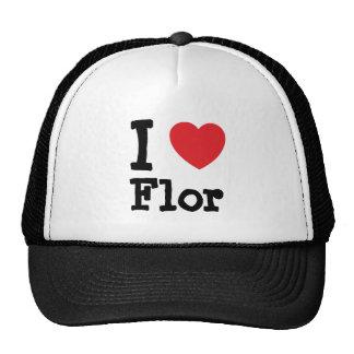 I love Flor heart T-Shirt Mesh Hats