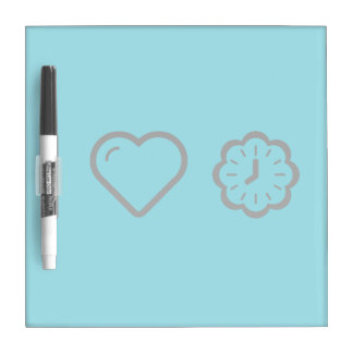 I Love Floral Clocks Dry-Erase Board