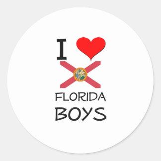 I Love Florida Boys Round Stickers
