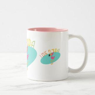 I Love Florida Flamingo Two-Tone Coffee Mug