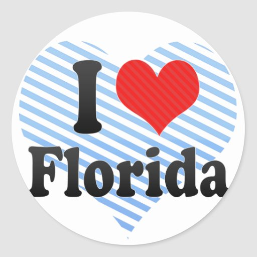 I Love  Florida Round Stickers