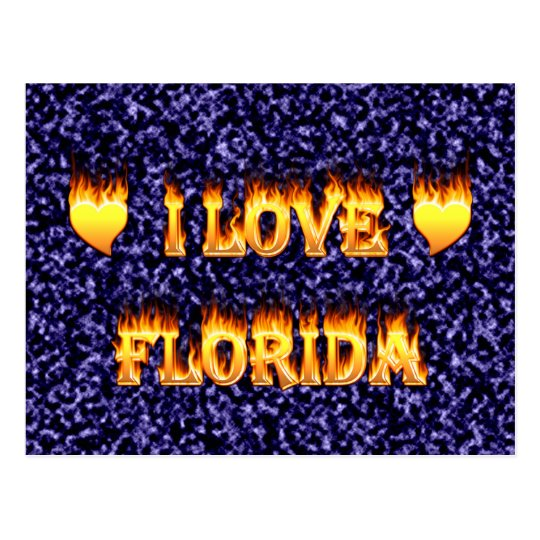 I love florida with blue marble background postcard