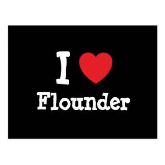 I love Flounder heart T-Shirt Postcards