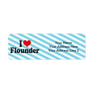 I Love Flounder Return Address Labels