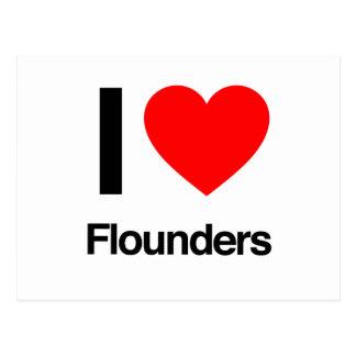 i love flounders post card