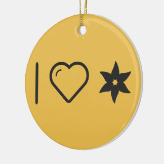 I Love Flower Sperms Double-Sided Ceramic Round Christmas Ornament