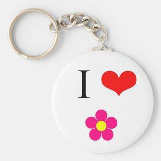 I Love Flowers Basic Round Button Keychain