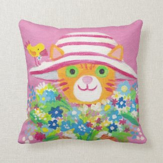 I love flowers cute gardener kitty pillow