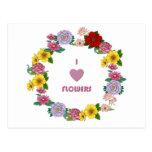 I Love Flowers Postcard