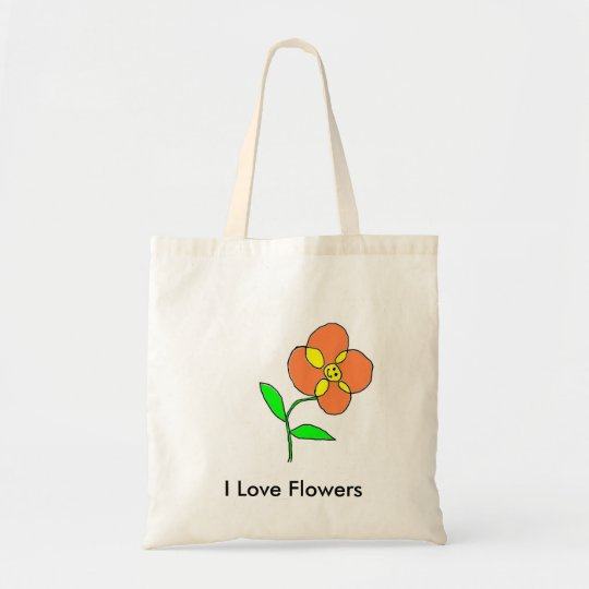 I Love Flowers Tote Bag