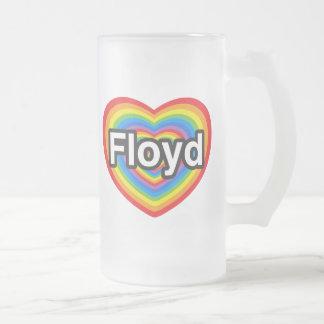 I love Floyd. I love you Floyd. Heart Frosted Glass Beer Mug