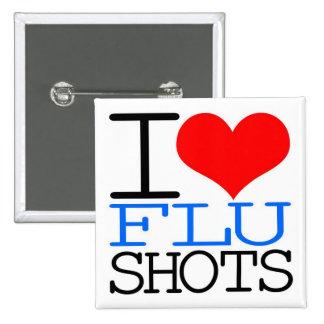 I Love Flu Shots 2 Inch Square Button