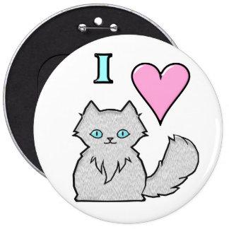 I Love Fluffy White Kitties Pinback Button